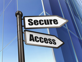 Privacy concept: sign Secure Access on Building background