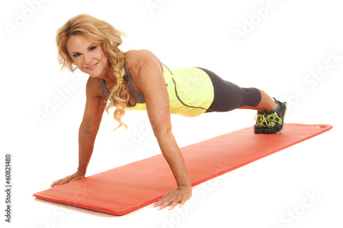 Mature woman pushup up looking