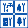 set of plumbing signs