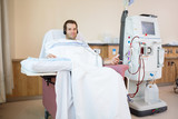 Patient Listening To Music While Receiving Renal Dialysis