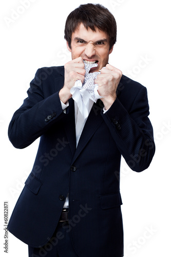 angry businessman with document