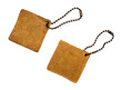 leather tags on white background
