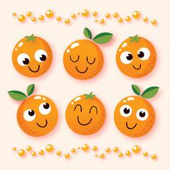 happy cartoon oranges