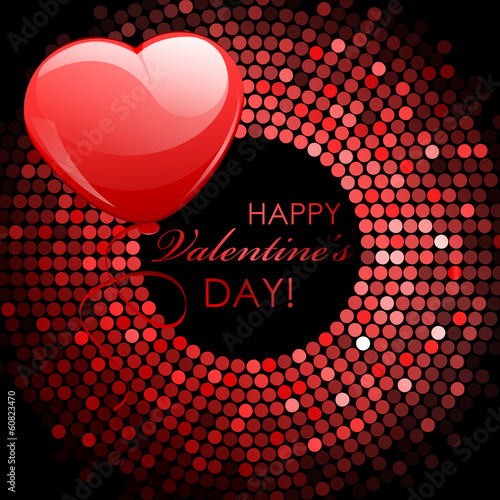 Vector - Happy Valentine's Day - red disco lights frame with bal