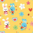 bunnies in love seamless pattern