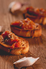 Toast with tomato sauce. Retouching in vintage style. selective