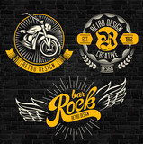 Rock themed badges. Vector
