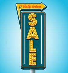 Retro sale signboard. Vector