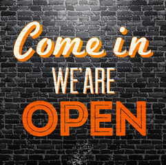 Vintage card - Come in we'are open
