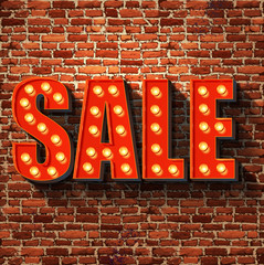 Vector sale sign on a brick wall