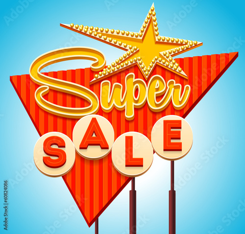 Retro sale signboard. Vector