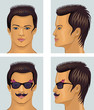 Showman brunet head with mustache and sunglasses