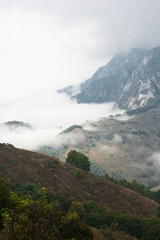 Autumn mountain landscape with fog