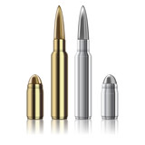 Vector Rifle and pistol bullets isolated on white
