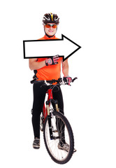cyclist holding the pointing blank full length