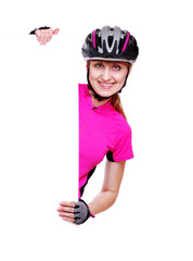 cyclist girl holding the vertical blank on white background