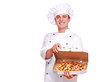 Chef holding the pizza in a box