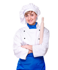 smiling baker woman with baking rolling pin