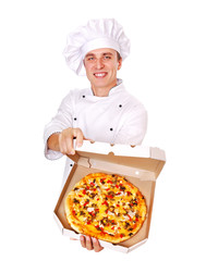 Chef holding the pizza in a box comic portrait top view