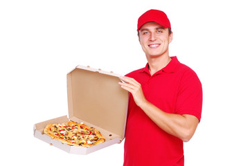 courier in red uniform presenting the box with pizza