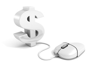 3d dollar symbol connected to a computer mouse