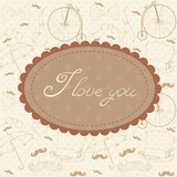 Romantic vintage Valentine invitation postcard