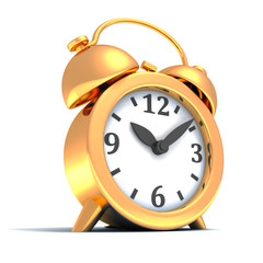 golden alarm clock on white background