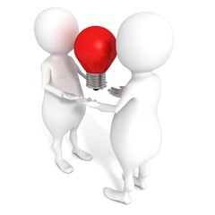 Two 3D People with Idea Concept Red Lighting Bulb