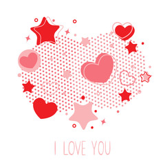 Cute Valentine card with hearts, stars and halftone