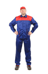 Worker inred-blue workwear.
