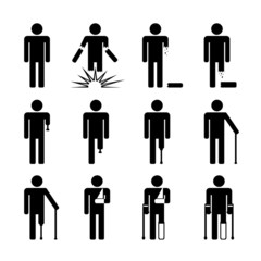 Injury after explosion - icons, symbols