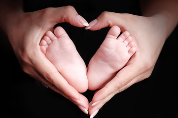 Newborn baby feet in the mother hands
