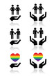 Gay and lesbian couples, rainbow flag with hands icons set