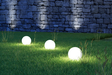 Glowing spheres high angle