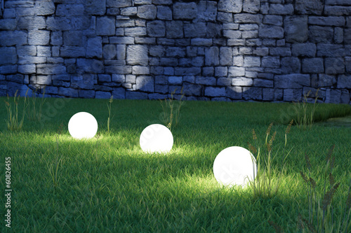 Papiers peints Jardin Glowing spheres high angle