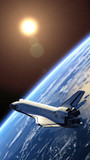 Space Shuttle Orbiting Earth