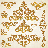 Vector set of scrolls and vignettes in Victorian style.