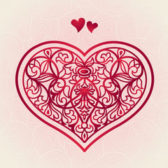 Ornate red heart on pink seamless background. Vector pattern.