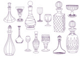 Antique Crystal Decanters and Glasses
