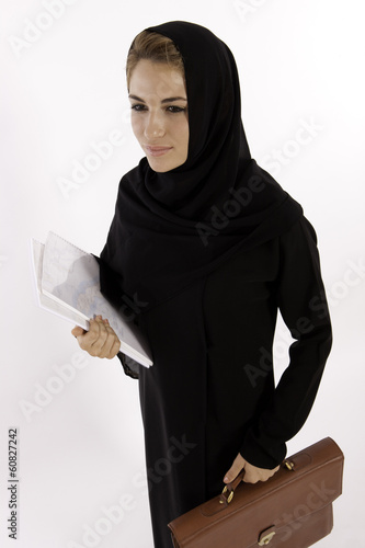 A Young Arab Woman Going To Work
