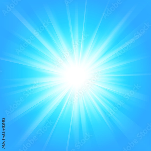 Poster Licht, schaduw Blue and white abstract magic light background.