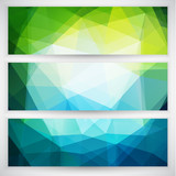 Abstract geometric trianglular banners set