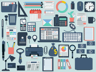 Office and business flat vector icons