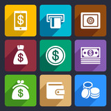 Money and bank Flat Icons Set 40