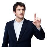 businessman point finger empty copy space