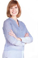 Studio portrait of a gorgeous mature woman smiling