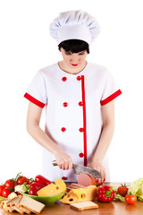 chef sliced sausage on the table