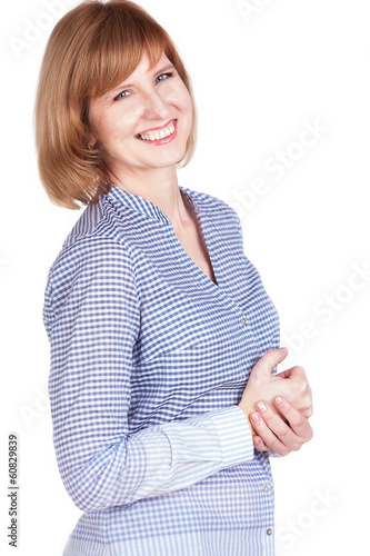 Studio portrait of a gorgeous mature woman smiling