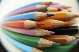 colored pencils photographed with fisheye
