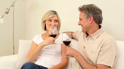 Mature couple having red wine together on the couch
